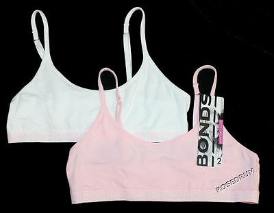 2x NWT BONDS COTTON CROP TOP Teenager Girl Bra Size 8, 10, 12, 14, 16 Pink White