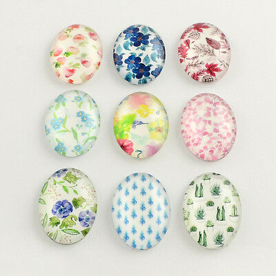 20pcs Food Pattern Glass Flatback Cabochons Oval Mixed Colour 14x10x3mm Findings