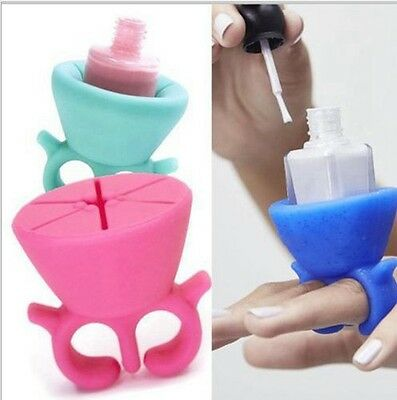 Vernis Pied Bouteille Poche Support Vernis Portable Silicone Art Pour Les Ongles