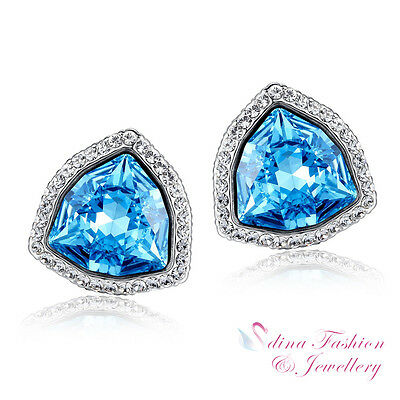 18K White Gold Filled Made With Swarovski Element Trillion Cut Stud Earrings