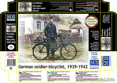 Master Box 1/35 Scale Plastic Model Kit German Soldier Bicyclist Mb35171
