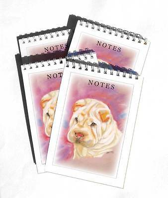 Shar Pei Pack of 4, A6 Dog Note Pads Jotter Gift Set