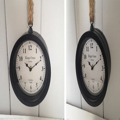 Black Vintage Style King Cross London Station Clock Thick Rope Hanging Dia.18Cm