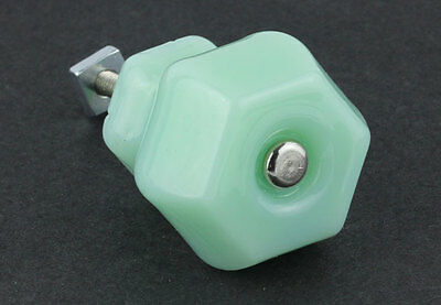 Old Fashion Antique Style Depression Style Milk Green Glass Knob - 1 1/2""
