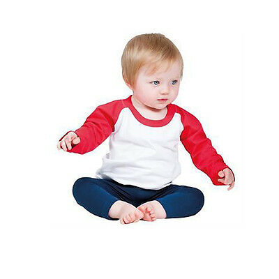 Baby Wear Larkwood Lw25T Long Sleeve Baby Baseball T-Shirt Size 0-36 Months