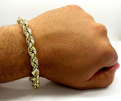 """Men's 10K Yellow Gold Rope Chain 6 MM Wide Bracelet  8"""" Inches"""