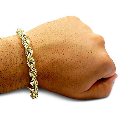 "Men's 10K Yellow Gold Rope Chain 5 MM Wide Bracelet 9"" Inches"