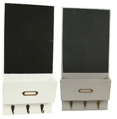 Vintage Style Letter Rack With Chalkboard & 3 key Hooks Organizer Wall Mounted