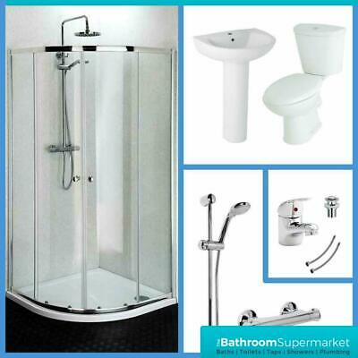 800mm Quadrant Shower Enclosure WC & Basin Bathroom Suite Set with Tap & Shower