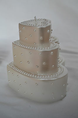 6 x Ivory Heart Shape 3 Tier Candles, Perfect Wedding Centrepieces or Favours!
