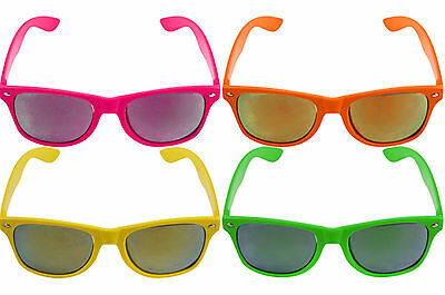 Mirror Lens Neon Colour Adult Sunglasses Glasses Novelty Fancy Dress Retro Party