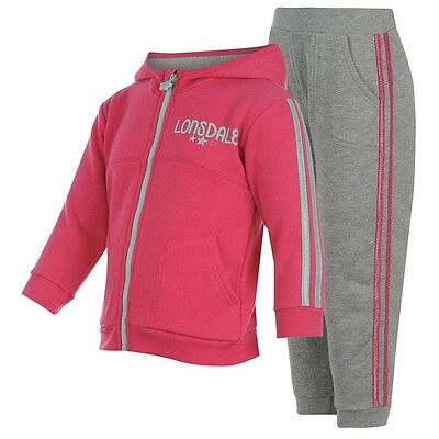 Lonsdale 2S 2 Piece hooded Jog tracksuit girls 2-3 years