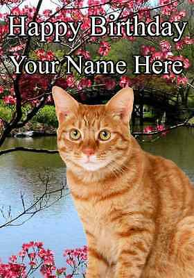 Ginger Cat  All Occasions Personalised Greeting Card Birthday PID790 GIFTS