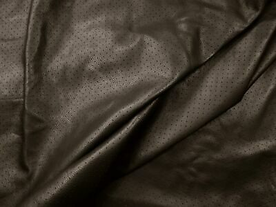 Dark brown perforated cowhide leather Soft & smooth N264 BARKERS LEATHERCRAFT