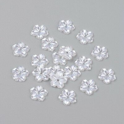 100pcs Acrylic Pearl Cabochons Dyed Flower Ivory 9x1.5mm Accessories Findings