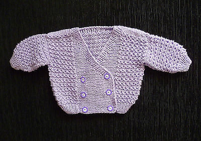 Baby clothes GIRL 0-3m hand-knitted soft, mauve sparkly double-breasted cardigan