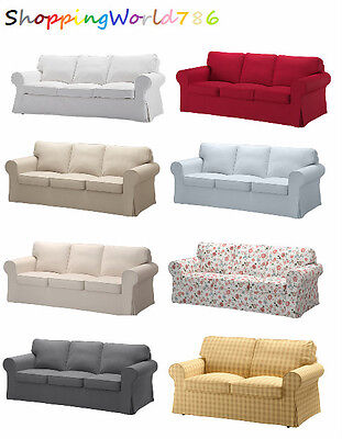 EKTORP Cover Three-seat sofa in 9 COLORS RED/BEIGE/WHITE/GREY/MULTI/BLUE