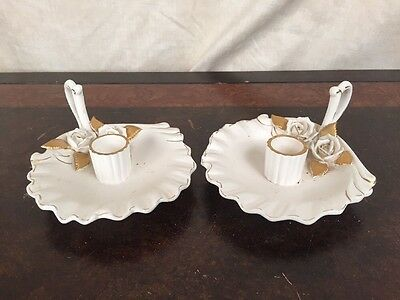 PAIR of vintage ALASKAN ROSE napco candle holders white & gold for tapers