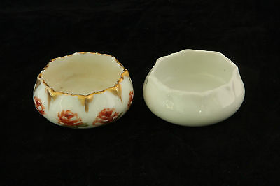 2 Different 1 Hand Painted China 1 Plain White Limoges Open Salt Cellar Dip 1/2