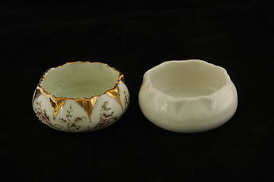 2 Different 1 Hand Painted China 1 Plain White Limoges Open Salt Cellar Dip 2/2