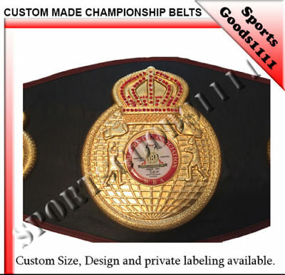 WBA Boxing Replica Championship Belt Metal Plates Black Artificial Leather 50""