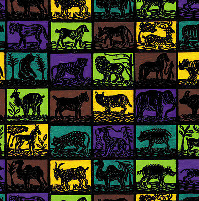 Printed Tissue Paper - Woodcut Animals Pattern - 240 Sheets