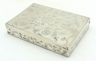 Fine Vintage Hand Engraved Marked 925 Silver Trinket Box