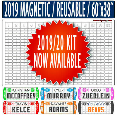 "Fantasy Football Draft Board - REUSABLE/PORTABLE - 2019 Magnetic Kit - 60""x38"""