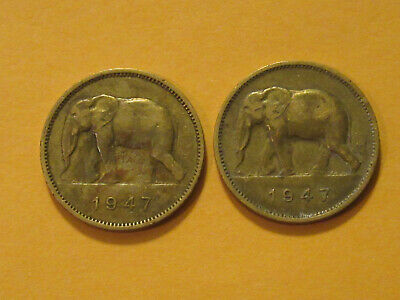 1947 Belgium Congo 2 franc ELEPHANT coin  very nice example 70 year old coin!!!