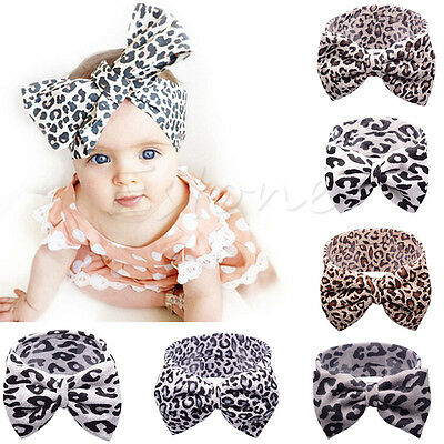 Cute Baby Girls Toddler Newborn Leopard Headband Hair Bow Hairband Accessories