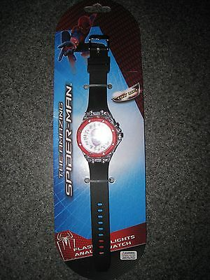 Nip Boys The Amazing Spiderman Flashing Lights Analog Watch Free Shipping