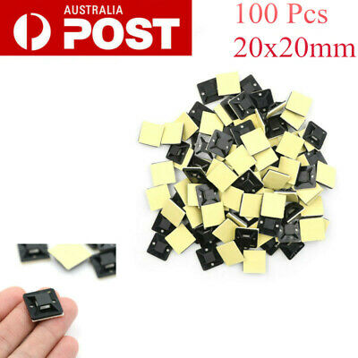 100pcs Self Adhesive Zip Tie Cable Wire Mounts Mounting Base Clamps Clip 20*20mm