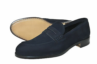 Man Penny Loafer-Mocassino-Dark Blue Suede-Camoscio Blu-Leather Sole