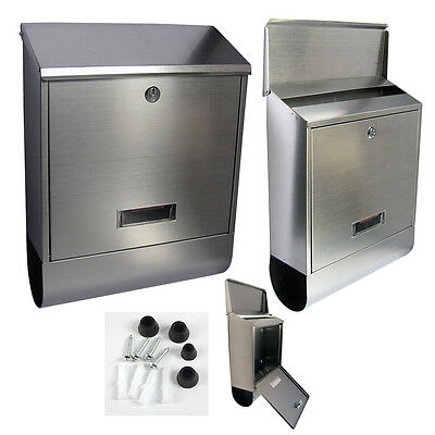 Wall Mounted Stainless Steel Mailbox Newspaper Holder Outdoor Mail Letter Box