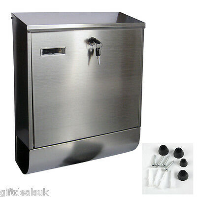 Stainless Steel Wall Mounted Outdoor Mailbox Newspaper Holder & Mail Letter Box