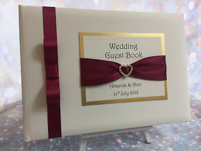 Diamanté Heart Buckle & Ribbon Personalised Wedding / Anniversary Guest Book