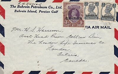 1938-45 Bahrain - Letter to Canada franked with stamps of George VI°