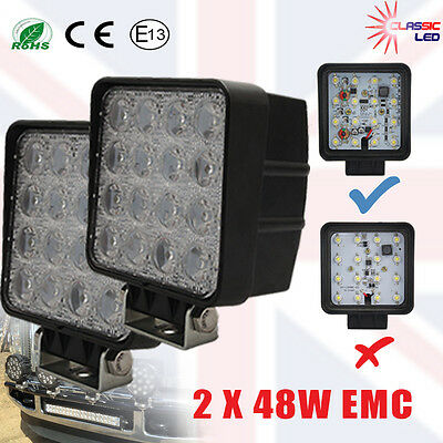 2 x 48W LED Work Light Flood Fog Lamp For Jeep SUV ATV Offroad Truck Boat 4WD