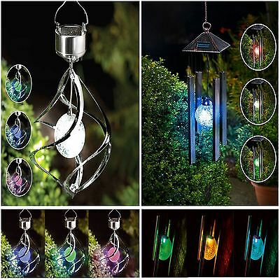 Hanging Colour Changing Solar Powered Wind Chime Light & Wind Spinner Light New