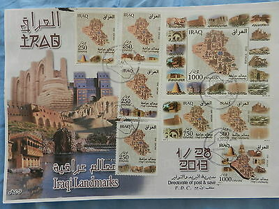 Iraq Landmarks archeology monuments FDC 2013 SS and Stamps