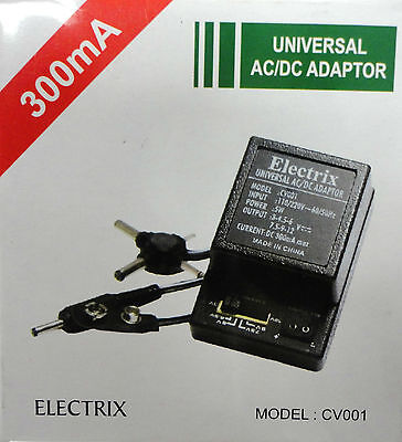 Universal AC DC Adapter Converter 3 4.5 6 7.5 9 12 V Power Charger 300 mA SNAP