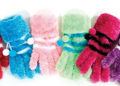 Furry Soft Striped Winter Ice Skating Gloves Junior/Adult One size - FREE SHIP!