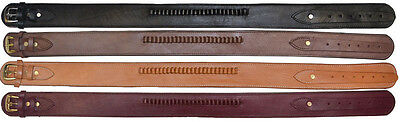 """Holster Belt With .38 Caliber Loops, 2-1/2"""" Wide Ammo Cartridge Leather Western"""
