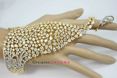 Diamante Hand Slave Harness Chain Holiday Bellydancer Simulated CZ Punja
