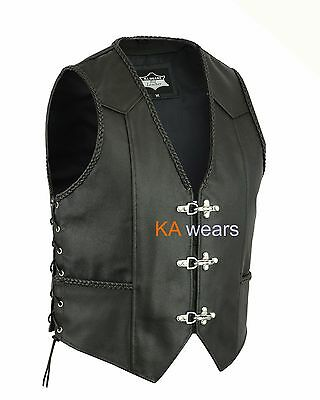 Leather Waistcoat Biker Vest Black Side Laces Fish Hook Button Side Plated Edge