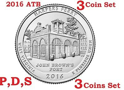 2016 P D S 3 Quarter set America the Beautiful Harpers Ferry National Park coin