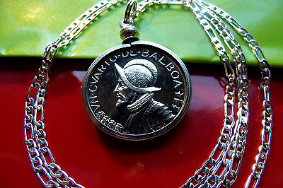 """ANTIQUE CONQUISTADOR COIN JEWELRY PENDANT  on a 30"""" .925 STERLING SILVER CHAIN"""