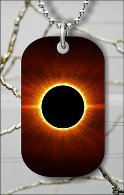 SOLAR ECLIPSE FROM EARTH DOG TAG PENDANT NECKLACE FREE CHAIN -jib2Z