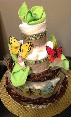 Butterfly Diaper Cake. 26 Diapers and More. Boy/Girl. Wow! Must See!