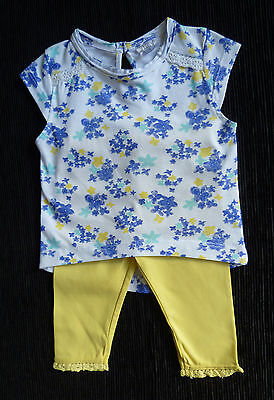 Baby clothes GIRL 0-3m outfit F&F cotton yellow/blue sleeveless top/leggings NEW